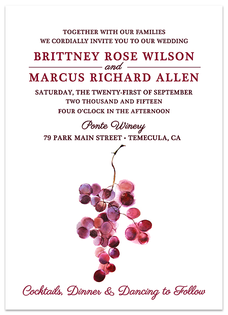 Wine Country Vineyard Wedding Invitations – Wine Country Wedding Invitations