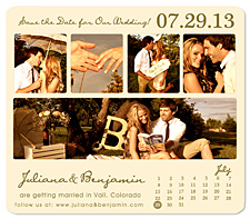 """5-Photo Collage Calendar"" Save the Date Card"