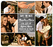 """6-Photo Collage Chalk"" Save the Date Card"