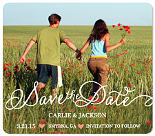 """Flowy Script"" Save the Date Card"