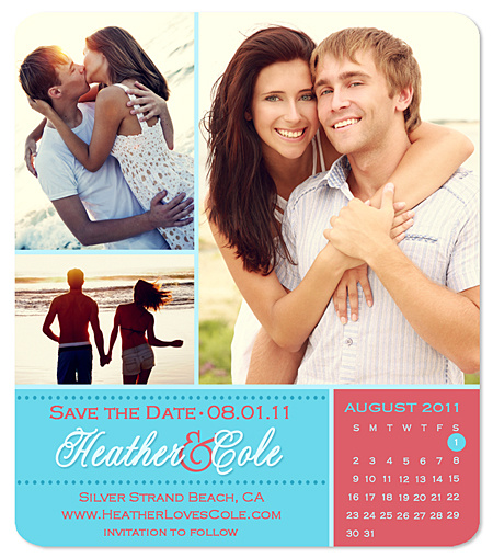 """Two-Tone Collage"" Save the Date Magnet"