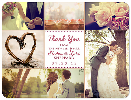 Six Photo Collage Thank You Wedding Magnets