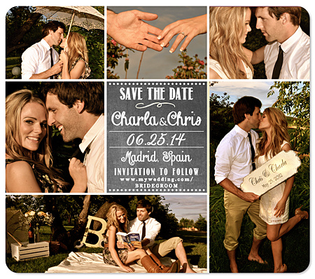 """6-Photo CollageChalk Save the Date Magnet"""