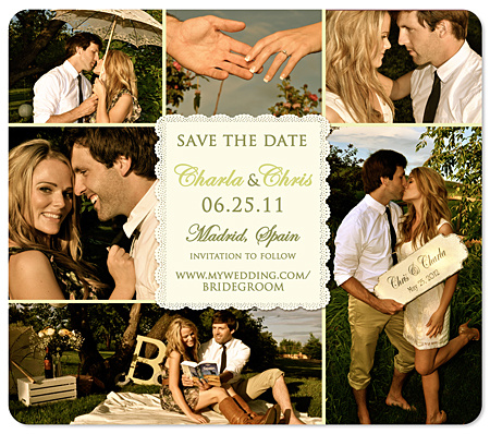 Save the Date Wedding Magnets Multiple Photo Country Lace Save – Magnet Save the Date Cards for Weddings