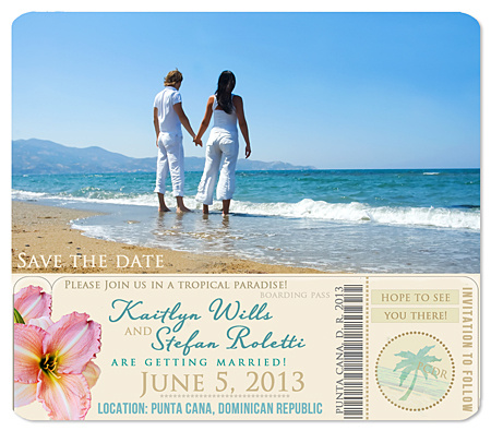 """Boarding Pass"" Save the Date Magnet"