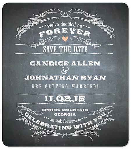 """Rustic Chalk Garland"" Save the Date Magnet"