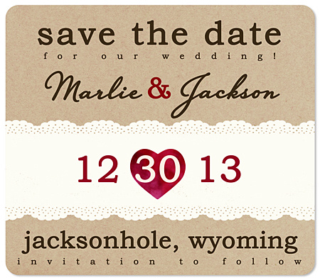 """Paper Heart"" Save the Date Magnet"