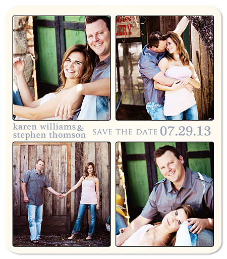"""Four Photo Blocks"" Save the Date Magnet"