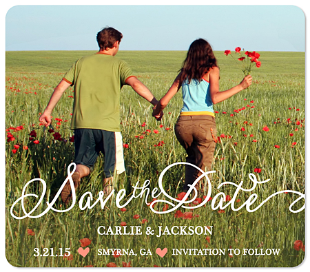 """Flowy Script"" Save the Date Magnet"