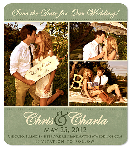 """Elegant Charm"" Save the Date Magnet"
