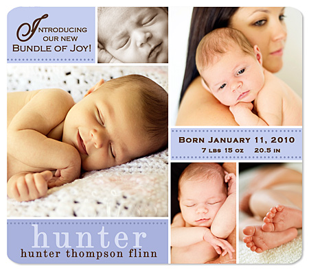 Birth Announcement Magnet - Baby Boy Photo Collage