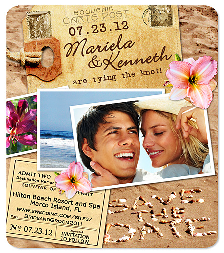Beach Postcard Save the Date Magnet – Save the Date Magnets Destination Wedding