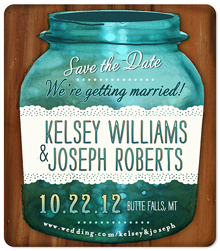 """Mason Jar Lace"" Save the Date Magnet"