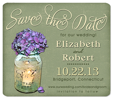 """Country Hydrangea Bouquet"" Save the Date Magnet"