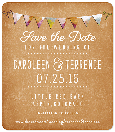 """Rustic Bunting"" Save the Date Magnet"