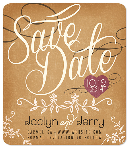 """Rustic Heart"" Save the Date Magnet"