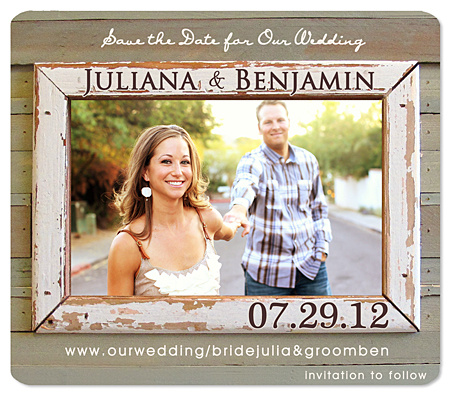 """Rustic Love Photo Frame"" Save the Date Card"