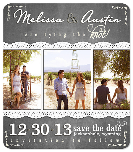 Chalk & Chalkboard Save the Date Magnets - Better Together Three Photo