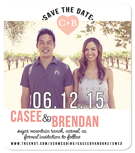 """Heart Initials"" Save the Date Magnet"