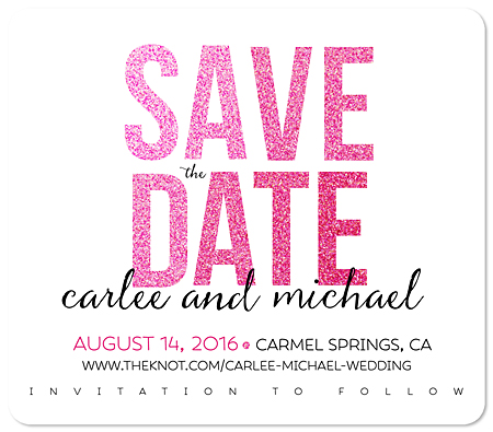 """Glitter"" Save the Date Magnet"