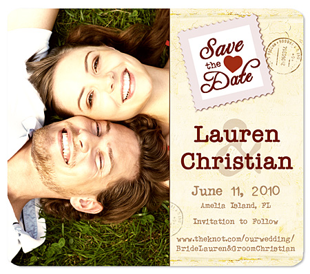 """Stamp of Love"" Save the Date Magnet"