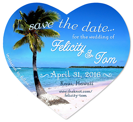 Save the Date Wedding Magnet - Tropical Heart""