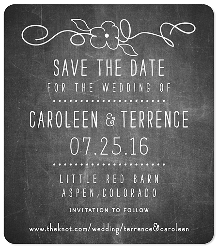 """Wildflower Chalkboard"" Save the Date Magnet"