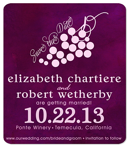 """Grape Frolic"" Wine Country Save the Date Magnet"