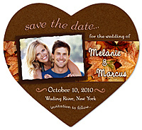 Autumn Leaves Photo Heart Save the Date Magnet