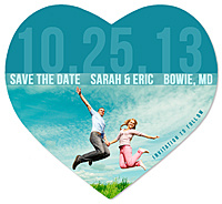 """Bold Date"" Photo Heart Save the Date Magnet"