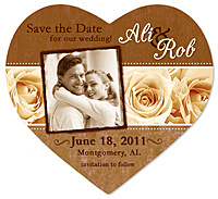 """Roses Photo Heart"" Save the Date Magnet"