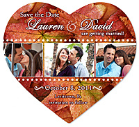 """Fall in Love"" Heart Save the Date Magnet"