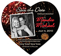 """Fireworks Heart"" Save the Date Magnet"