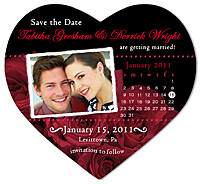 """Bed of Roses Calendar Heart"" Save the Date Magnet"