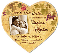 Wine Country Photo Heart Save the Date Magnet