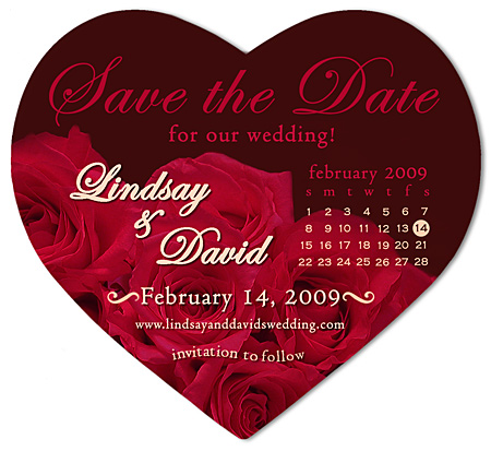 Save the Date Wedding Magnet Red Rose Calendar Heart