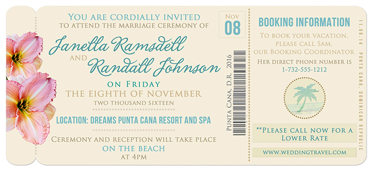 Boarding P Invitation Template | Boarding Pass Wedding Invitation