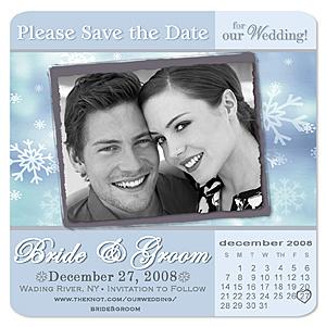 winter wonderland photo square save the date magnet