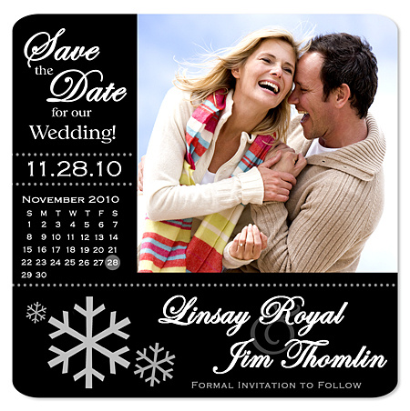 Winter Snowflake Calendar Save the Date Magnet